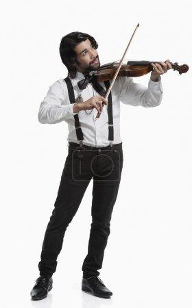 Photo for Musician playing a violin isolated on white background - Royalty Free Image