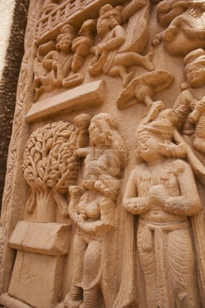 Carving detail on the ancient stupa at Sanchi