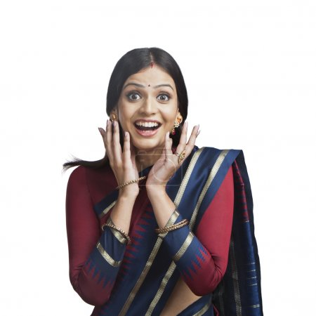 Photo for Traditionally Indian woman looking surprised - Royalty Free Image