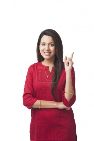 Happy woman pointing