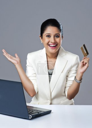 Businesswoman looking excited