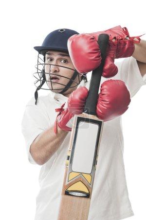 Batsman playing cricket