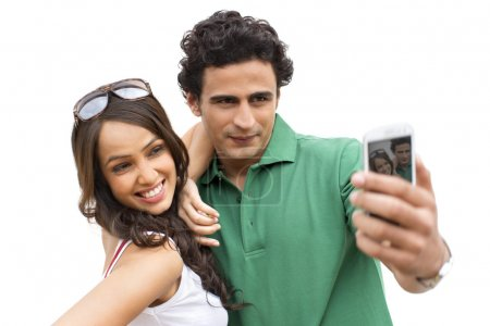 Couple taking a picture of themselves