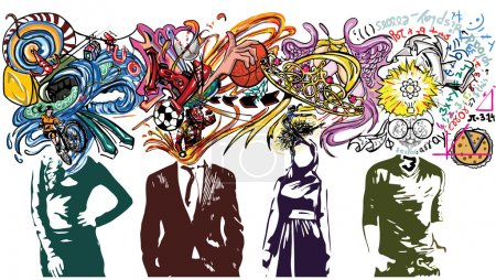 Illustration for Illustrative representation of brains exploding with ideas - Royalty Free Image