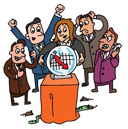 Illustration pour Représentation indicative des courtiers en valeurs mobilières - image libre de droit