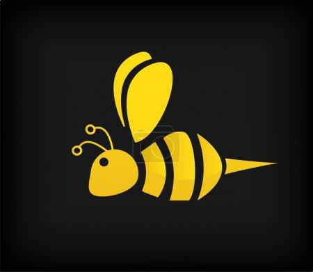 Illustration pour Abeille jaune sur fond noir - image libre de droit