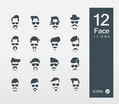 Vector illustration of Face with Mustaches