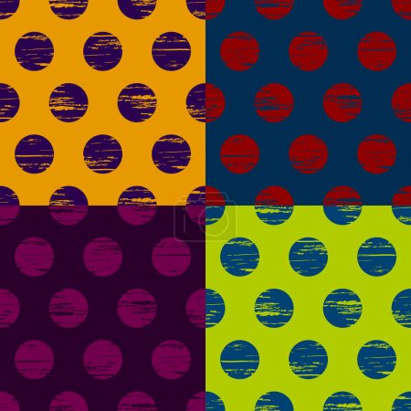 Illustration for Set of colorful grunge circle seamless background pattern - Royalty Free Image