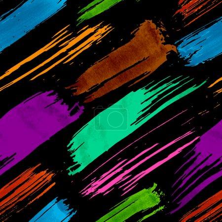 Illustration for Colorful dark grunge brush strokes seamless pattern - Royalty Free Image