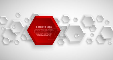 Illustration for Abstract hexagon 3d red background with shadows - Royalty Free Image