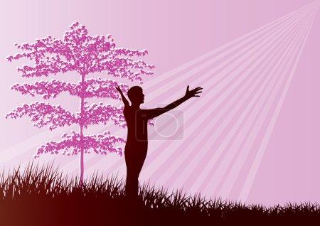 Illustration pour Silhouette de l'homme adoration et louange - format vectoriel - image libre de droit