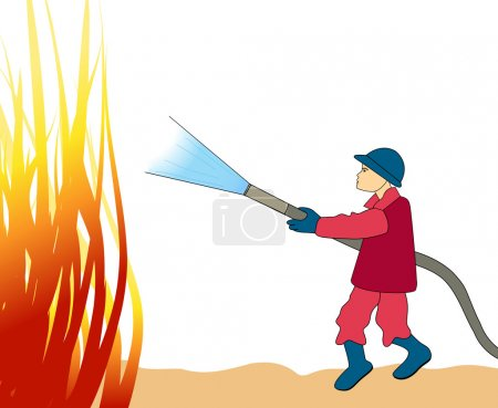 Illustration of Fire Fighter fighting fire...