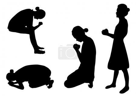 Praying silhouettes
