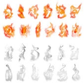 Vector illustration of isolated fire and smoke set