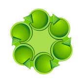 Beautiful green arrows are placed in a circle template for text the theme of ecology