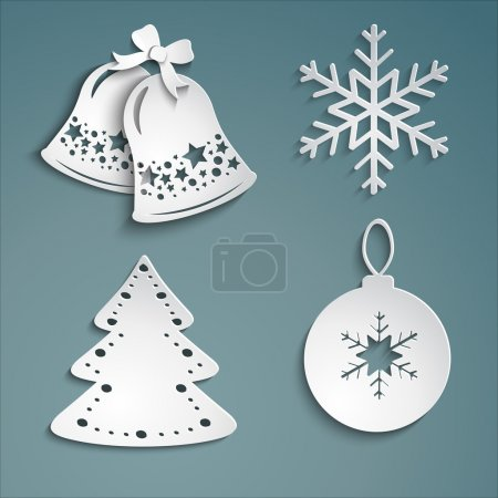 Illustration for Christmas set of beautiful white christmas bells, snowflakes, Christmas decorations, irozhdestvenskoe tree on a cold background.-EPS10 Vector - Royalty Free Image