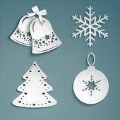 Christmas set of beautiful white christmas bells snowflakes Christmas decorations irozhdestvenskoe tree on a cold background-EPS10 Vector