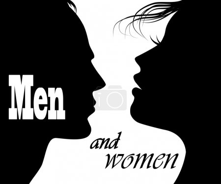 Illustration for Man and woman faces vector profiles - Royalty Free Image