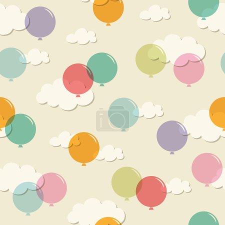 Illustration pour Motif sans couture avec ballons - image libre de droit