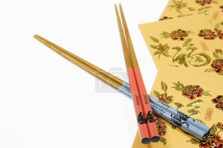 Chinese Horse and Snake Chopsticks With Gold Money Wallets, Chinese New Year