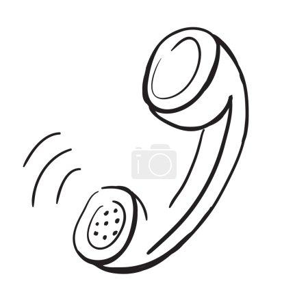 Photo pour Illustration de l'esquisse - combiné téléphonique - image libre de droit