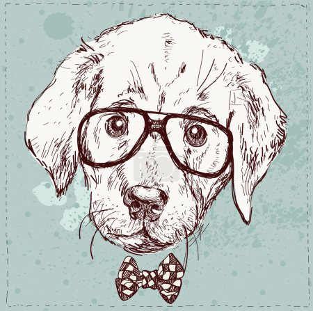 Illustration for Cute fashion Hipster Animals & pets, set of vector icons - Royalty Free Image