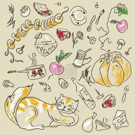 Photo pour Ensemble de cuisine vecteur avec chat - image libre de droit