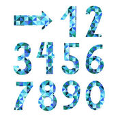 Vector textured geometric numbers set from 1 to 9 plus 0 in color blue isolated