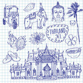 Illustration of vector set of Thailand with temple buddha elephant traditional food and flower isolated