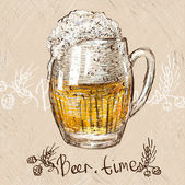 Vector illustration of colorful sketched cup of beer