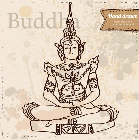 Vector buddha isolated, hand drawn illustration on vintage paper textured background