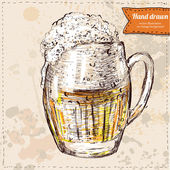 Vector illustration of colorful sketched cup of beer Hand drawn on vintage background