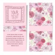 Vector vertical banner with pink flowers hand draw...