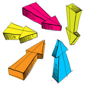 Vektorové ilustrace sada ručně tažené skica Arrow izolovaných na bílém, světlé barvy