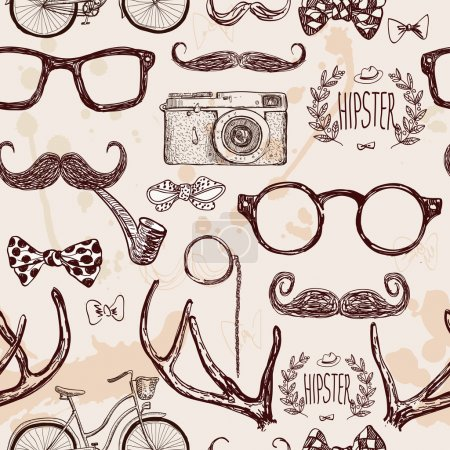 Illustration for Vector hipster seamless pattern, vintage illustration with glasses, mustache, horns, camera, bike, label,bow, tie on textured background, hand drawn in retro color - Royalty Free Image