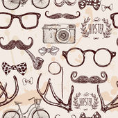 Vector hipster seamless pattern vintage illustration with glasses mustache horns camera bike labelbow tie on textured background hand drawn in retro color
