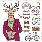 Hipster deer in suit hand drawn