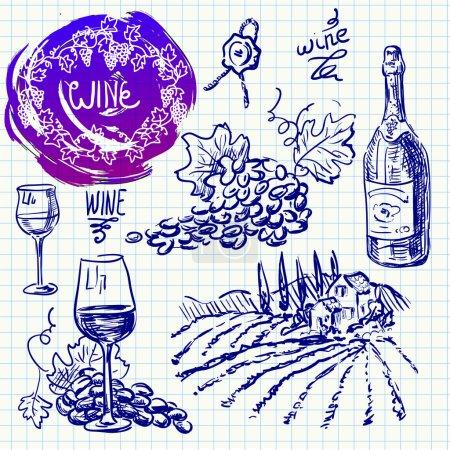 Illustration pour Ensemble vectoriel dessiné à la main - vinification et vinification - image libre de droit