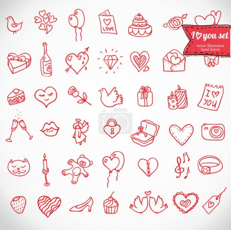 Illustration for I love you doodle icon set isolated, vector illustration hand drawn - Royalty Free Image