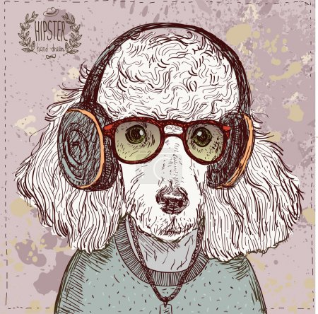 Vintage illustration of hipster poodle with glasses, headphones and bow in vector on vintage background