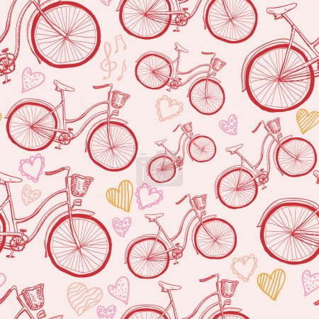 Seamless bicycles pattern. Stylish sporty print