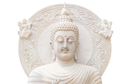 White buddha status on white background