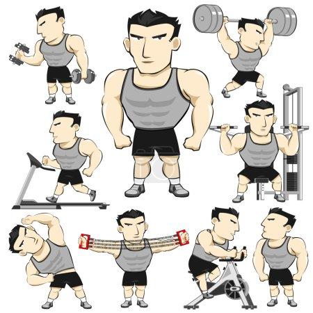 Fitness Man Activities Pack Cartoon