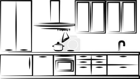 Illustration for Simple illustration of kitchen furniture - Royalty Free Image