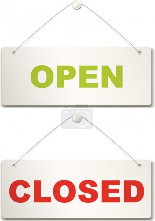 Illustration for Open and closed door sign - Royalty Free Image
