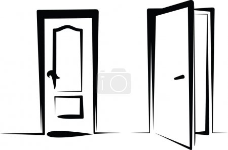 Illustration for Simple illustration of closed and open door - Royalty Free Image