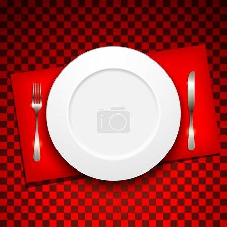 Illustration pour Menu restaurant design avec assiette et argenterie - image libre de droit