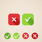 Vector check mark icons flat icons for web and mobile applications (flat design with long shadows)