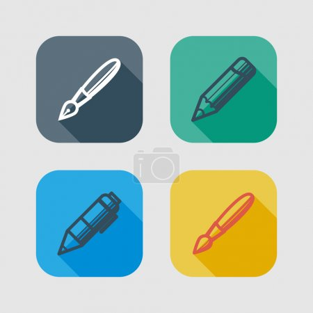 Set of drawing and writing tools. flat icons with long shadows