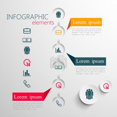 Illustration for Vector set of abstract 3d paper infographic elements for print or web design. business infographic template - Royalty Free Image